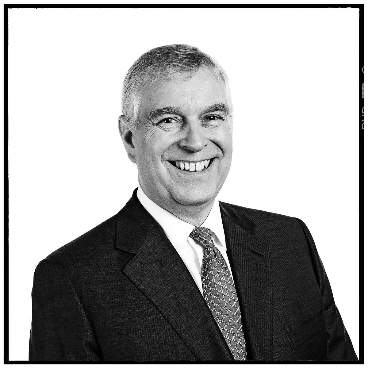 Portrait of HRH Prince Andrew by Contemporary London photographer Julian Hanford